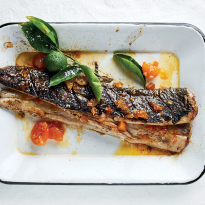 Braaied snoek with apricot glaze