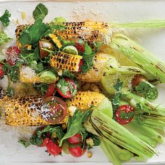 Charred corn on the cob with tomato salsa