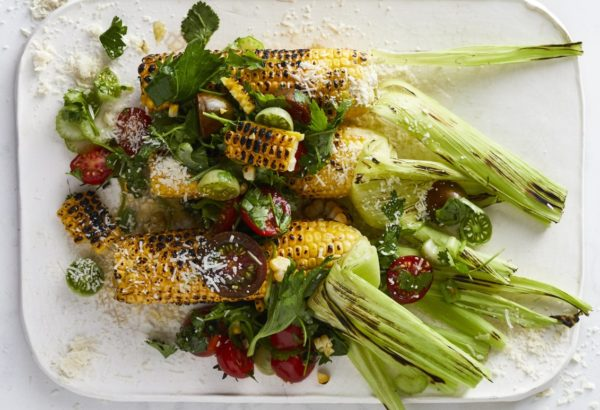 Charred corn on the cob with tomato salsa recipe