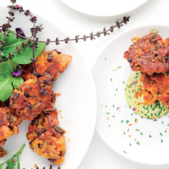 Chorizo, black bean and sweet potato fritters with chipotle-chive mayonnaise