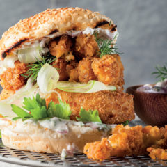 Fish-and-calamari burger with home-made tartare sauce
