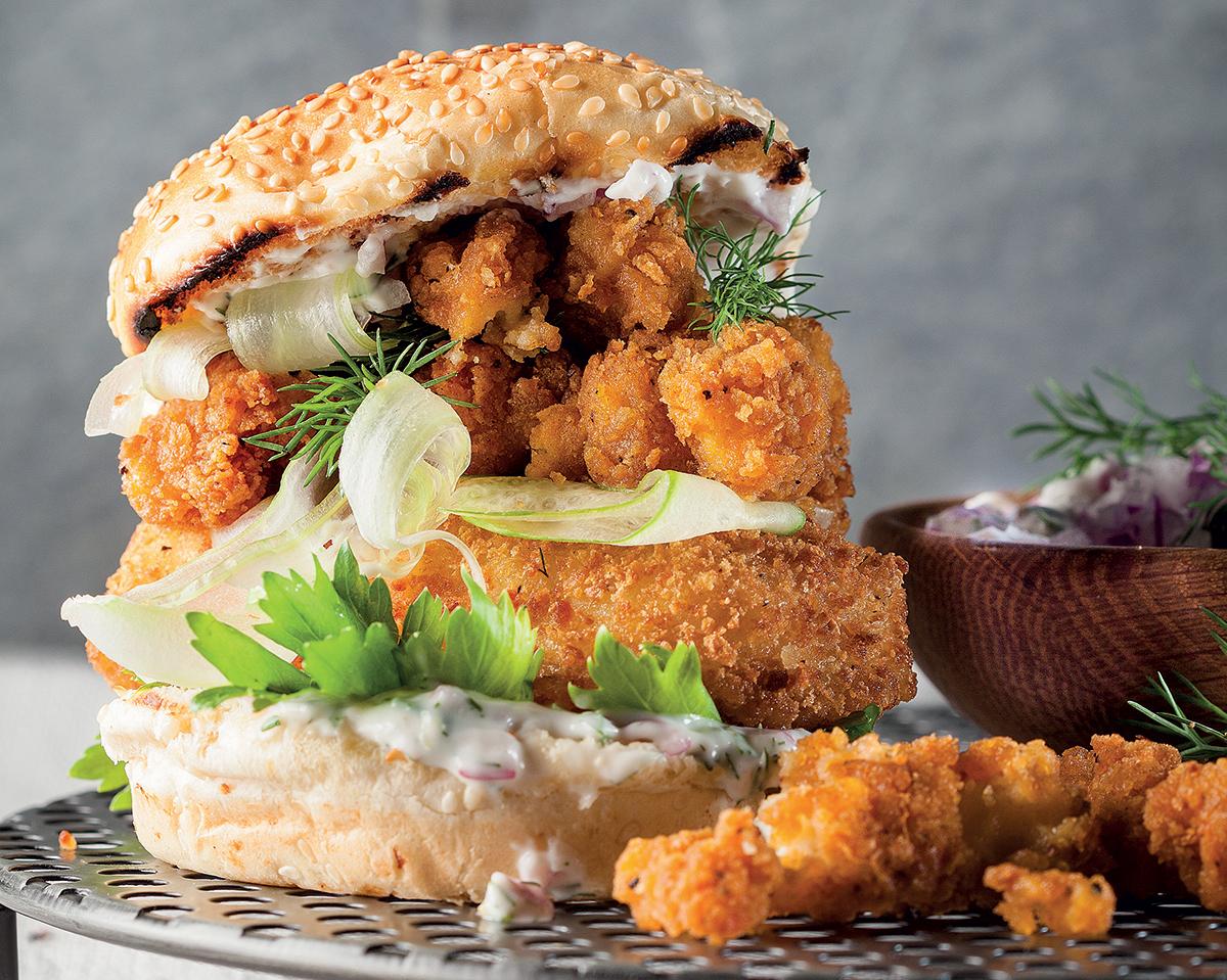 Fish-and-calamari burger with home-made tartare sauce | Woolworths TASTE