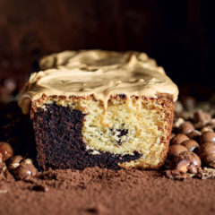Marble cake with peanut-butter frosting