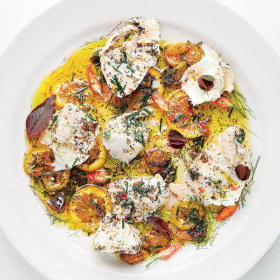 Marinated bocconcini with chilli, orange, basil and poppy seeds