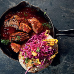 Monkeygland rump chunks with charred corn and cabbage tostadas