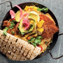Open pork schnitzel quesadilla