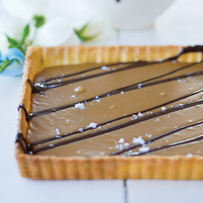 Salted caramel and chocolate tart