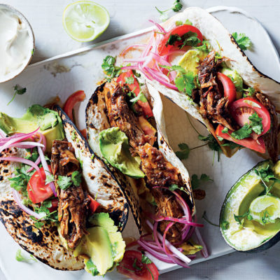Slow roasted pork mole tacos