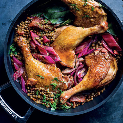 Bacon-and-date roast duck legs on lentils