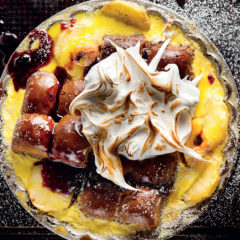 Bread pudding with apples, blueberry jam and meringue