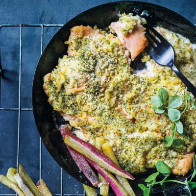 Cheat's lemon-and-dill crumbed salmon roast