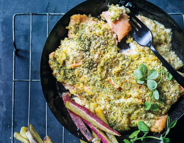 Cheat's lemon-and-dill crumbed salmon roast recipe