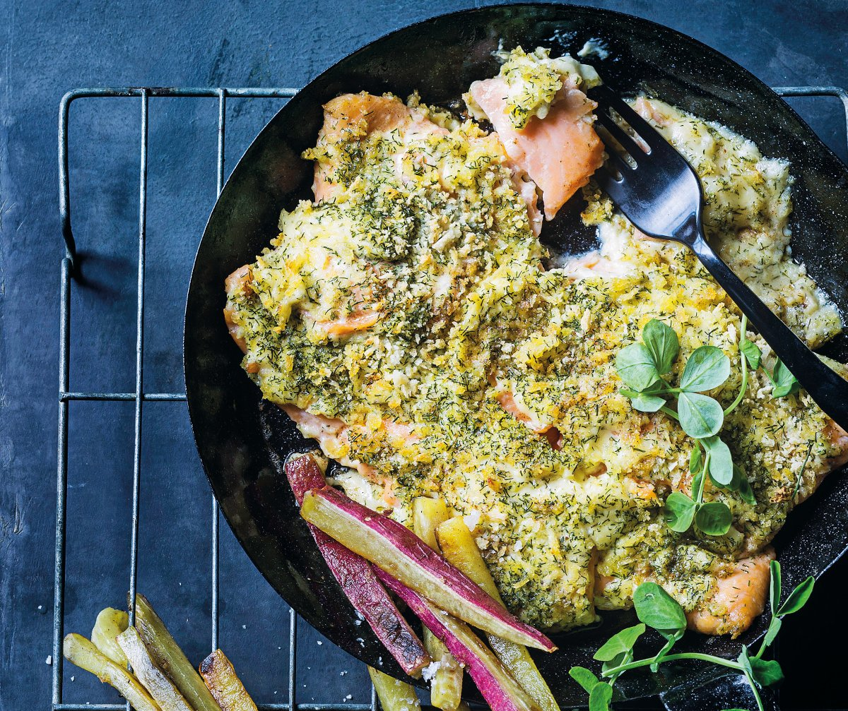 Cheat's lemon-and-dill crumbed salmon roast recipe