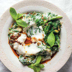 Creamed spinach with smoked chilli-yoghurt
