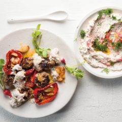 Meatballs with radish tzatziki and roast peppers