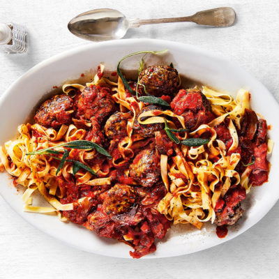 Pork meatballs and pomodoro sauce with tagliatelle