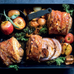 Roast pork belly with cider, apple and sage