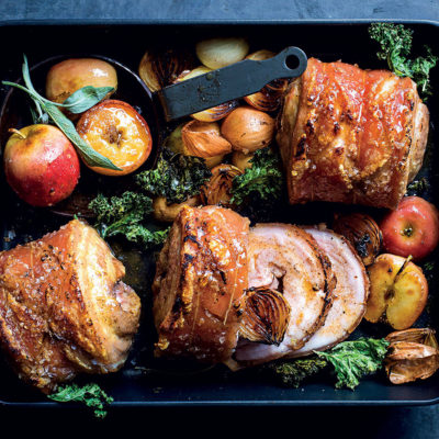 Roast pork belly with cider, apple and sage