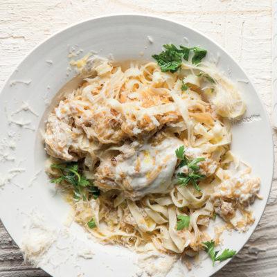 Tagliatelle with caramelised onion and yoghurt sauce