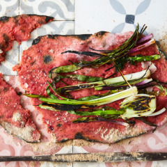 Beetroot flatbread with charred greens