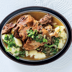 Braised lamb with celery salsa