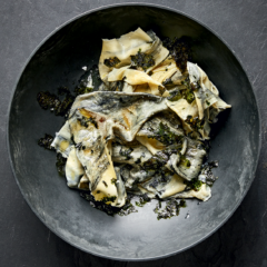 Charcoal pasta with seaweed butter