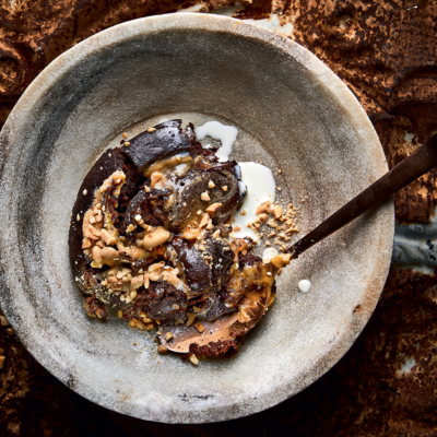 Chocolate peanut-butter swirl pudding