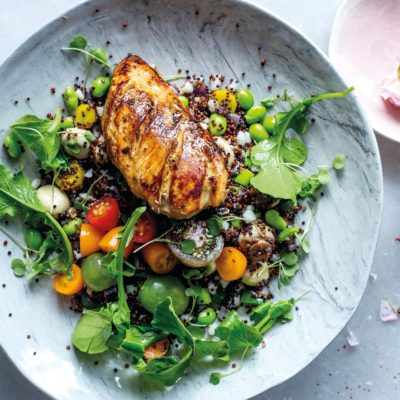 Honey, soya and mustard chicken with warm samp-and-quinoa salad