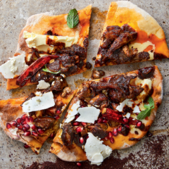 Slow-cooked lamb-and-pomegranate flatbread
