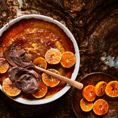 Sticky burnt orange self-saucing pudding