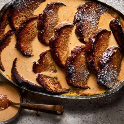 Banana bread-and-butter pudding with easy salted caramel sauce