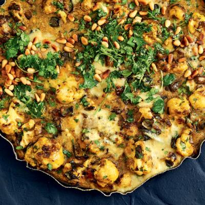 Cauliflower-and-brinjal tart