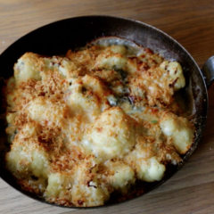 Watch: how to rustle up a cauliflower, blue cheese and Parmigiano Reggiano bake