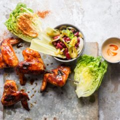 Chicken wings with spiced lettuce wedges