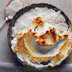 Coconut-and-vanilla sago pudding with Swiss meringue caps