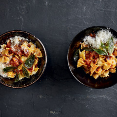 Farfalloni with Marmite-and-onion sauce