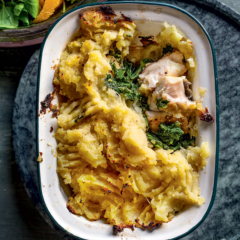 Fish-and-kale pie with sweet-potato topping