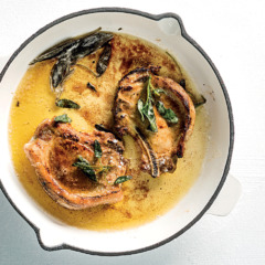Perfectly fried pork chops with burnt sage butter