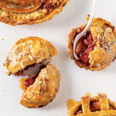 Raspberry-and-apple pies with almond crust