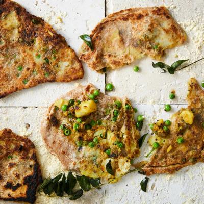 Spicy potato-and-pea parathas
