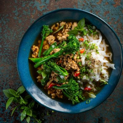 Asian-braised chicken and tenderstem broccoli with rice noodles
