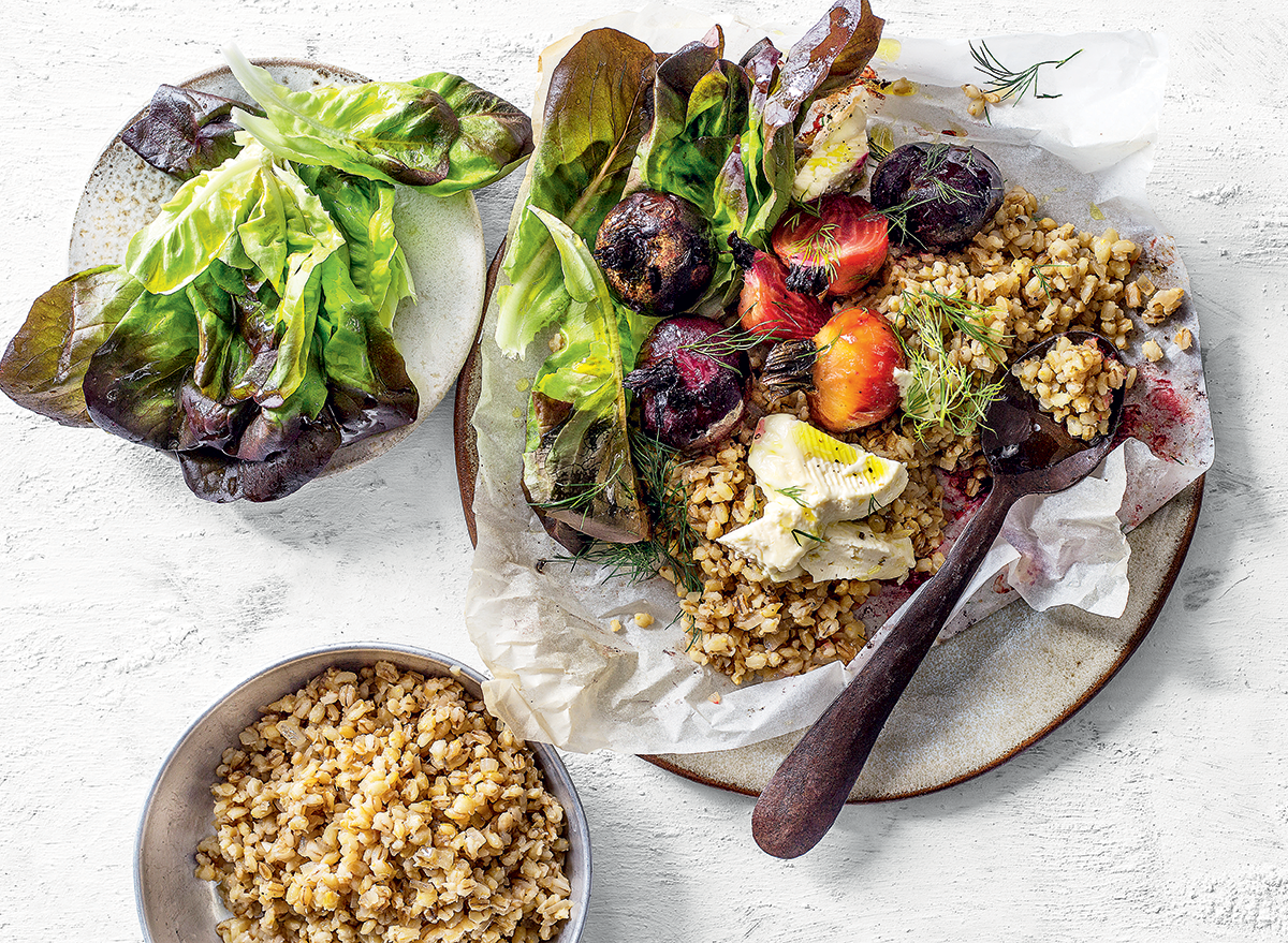 Baked barley pilau with roast beetroot and feta recipe