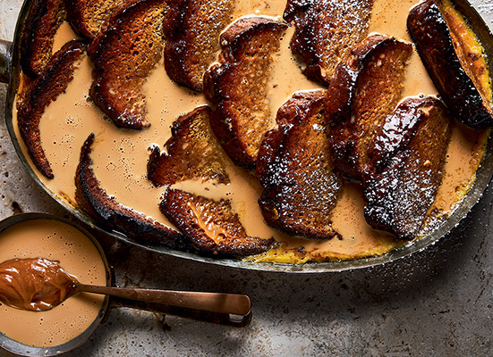 Banana-bread-and-butter-pudding-with-easy-salted-caramel-sauce recipe