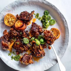 Citrus-braised shortrib with chilli, lime and green tomato salsa