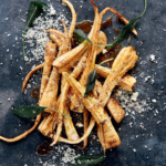Crispy parsnips with maple syrup recipe