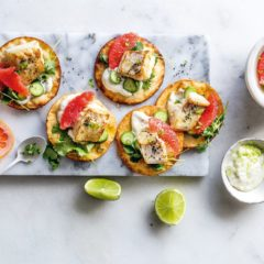 Fish tacos with one-minute lime mayonnaise and pink grapefruit
