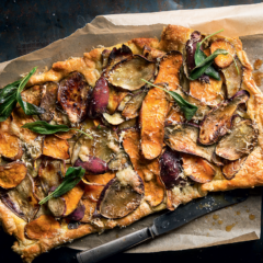 Maple-roasted potato-and-sage open tart