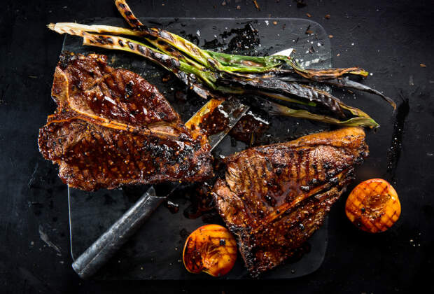 Paprika-butter-basted t-bone with coriander cream white beans recipe