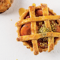 Peach-and-cardamom pies with brown-sugar lattice crust