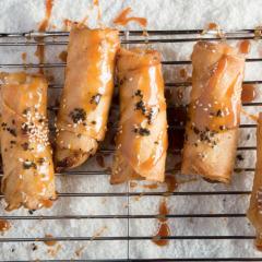 Sesame banana spring rolls with salted caramel sauce